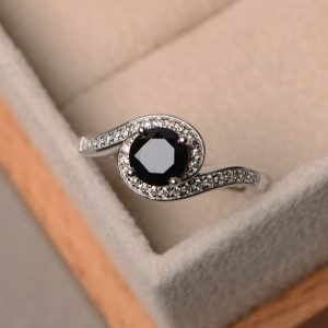 Shop Spinel Rings! Natural black spinel ring, promise ring, sterling silver ring, black gemstone ring, round cut spinel ring | Natural genuine Spinel rings, simple unique handcrafted gemstone rings. #rings #jewelry #shopping #gift #handmade #fashion #style #affiliate #ad