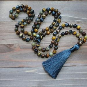 Shop Tiger Eye Necklaces! Yoga Gifts For Men, Yoga Gifts For Women, Yoga Gifts For Teacher, Tiger Eye Mala Beads, Long Beaded Necklace With Tassel, Hand Knotted Mala | Natural genuine Tiger Eye necklaces. Buy handcrafted artisan men's jewelry, gifts for men.  Unique handmade mens fashion accessories. #jewelry #beadednecklaces #beadedjewelry #shopping #gift #handmadejewelry #necklaces #affiliate #ad