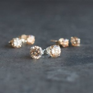 Champagne Stud Earrings in Gold Filled or Sterling Silver, Bridesmaids Gifts, CZ Topaz Solitaire Ear Studs, Valentines Gift for Her | Natural genuine Gemstone earrings. Buy crystal jewelry, handmade handcrafted artisan jewelry for women.  Unique handmade gift ideas. #jewelry #beadedearrings #beadedjewelry #gift #shopping #handmadejewelry #fashion #style #product #earrings #affiliate #ad
