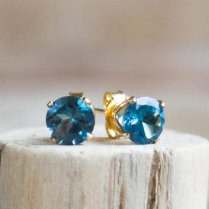 Shop Topaz Earrings! London Blue Topaz Stud Earrings, Gift  for Wife, Earrings Studs, Gemstone Ear Studs, Silver, Gold, Topaz Jewelry, November Birthstone | Natural genuine Topaz earrings. Buy crystal jewelry, handmade handcrafted artisan jewelry for women.  Unique handmade gift ideas. #jewelry #beadedearrings #beadedjewelry #gift #shopping #handmadejewelry #fashion #style #product #earrings #affiliate #ad