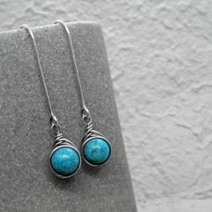 Turquoise Earrings, December Birthstone, Sterling Silver Long Earrings, Gemstone Earrings, Boho Style, Gift for Her, Throat Chakra Stone | Natural genuine Gemstone earrings. Buy crystal jewelry, handmade handcrafted artisan jewelry for women.  Unique handmade gift ideas. #jewelry #beadedearrings #beadedjewelry #gift #shopping #handmadejewelry #fashion #style #product #earrings #affiliate #ad