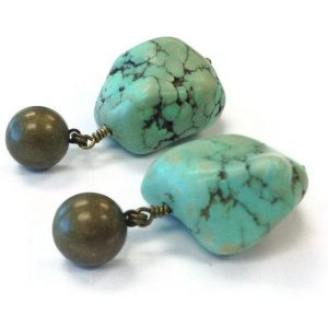 Shop Turquoise Earrings! Turquoise Earrings – Southwestern Brass Jewelry – Modern – Tribal – Summer – Fashion Jewellery – Chunky Gemstone ER-176 177 178 | Natural genuine Turquoise earrings. Buy crystal jewelry, handmade handcrafted artisan jewelry for women.  Unique handmade gift ideas. #jewelry #beadedearrings #beadedjewelry #gift #shopping #handmadejewelry #fashion #style #product #earrings #affiliate #ad