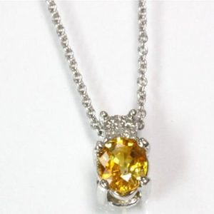 Shop Yellow Sapphire Pendants! 0.65 Ct Tw Natural Yellow Sapphire & Princess Diamond Gold Drop Pendant Necklace | 14k, 18k White Gold Oval Pendant | September Birthstone | Natural genuine Yellow Sapphire pendants. Buy crystal jewelry, handmade handcrafted artisan jewelry for women.  Unique handmade gift ideas. #jewelry #beadedpendants #beadedjewelry #gift #shopping #handmadejewelry #fashion #style #product #pendants #affiliate #ad