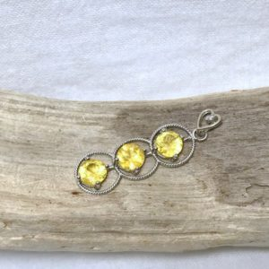 14kt Gold Pendant With 1.2 Ct Yellow Sapphire And Diamond, Appraised 800 Cad | Natural genuine Yellow Sapphire pendants. Buy crystal jewelry, handmade handcrafted artisan jewelry for women.  Unique handmade gift ideas. #jewelry #beadedpendants #beadedjewelry #gift #shopping #handmadejewelry #fashion #style #product #pendants #affiliate #ad