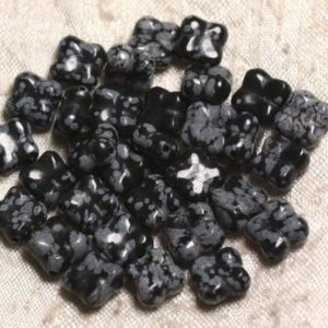 Shop Snowflake Obsidian Bead Shapes! 2pc – Stone Beads – Clover Flower 9-10mm 4558550003805 Snowflake Obsidian | Natural genuine other-shape Snowflake Obsidian beads for beading and jewelry making.  #jewelry #beads #beadedjewelry #diyjewelry #jewelrymaking #beadstore #beading #affiliate #ad