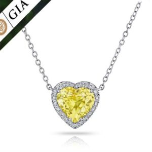 6.08 Carat Heart Shape Yellow Sapphire (no Heat) And Diamond Platinum Pendant Necklace | Natural genuine Yellow Sapphire pendants. Buy crystal jewelry, handmade handcrafted artisan jewelry for women.  Unique handmade gift ideas. #jewelry #beadedpendants #beadedjewelry #gift #shopping #handmadejewelry #fashion #style #product #pendants #affiliate #ad