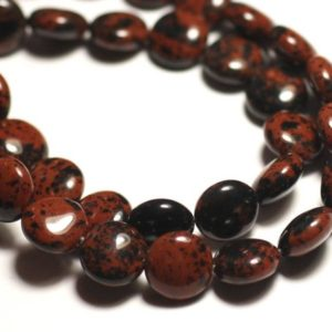 Shop Mahogany Obsidian Beads! 6pc – Stone Beads – Mahogany Brown 10mm – 8741140015050 Pucks Mahogany Obsidian | Natural genuine other-shape Mahogany Obsidian beads for beading and jewelry making.  #jewelry #beads #beadedjewelry #diyjewelry #jewelrymaking #beadstore #beading #affiliate #ad