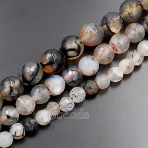 Shop Agate Faceted Beads! Faceted black dragon vein agate beads 6mm 8mm 10mm Black Fire Agate beads, Round Agate Gemstone beads Jewelry faceted Black Vein Agate beads | Natural genuine faceted Agate beads for beading and jewelry making.  #jewelry #beads #beadedjewelry #diyjewelry #jewelrymaking #beadstore #beading #affiliate #ad
