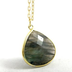 "Shop Agate Necklaces! Moss Agate Gold Plated Necklace with 16"" Chain 