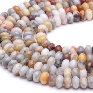 "Natural Yellow Crazy Lace Agate Smooth Rondelle Beads 5x8mm 6x10mm 15.5"" Strand 