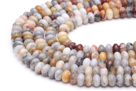 """Natural Crazy Agate Smooth Rondelle Beads 5x8mm 6x10mm 15.5"""" Strand"""
