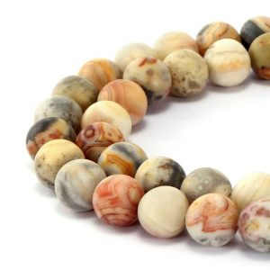 Shop Agate Round Beads! Matte Crazy Agate Round Gemstone Loose Beads Approx 15.5 Inch Per Strand Size 6mm / 8mm / 10mm / 12mm R-m-aga-0005 | Natural genuine round Agate beads for beading and jewelry making.  #jewelry #beads #beadedjewelry #diyjewelry #jewelrymaking #beadstore #beading #affiliate #ad