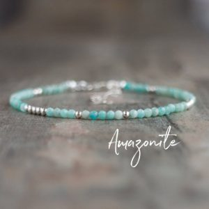 Shop Amazonite Bracelets! Dainty Amazonite Bracelet, Healing Crystal Gift For Friends, Sterling Silver Bracelet, Blue Gemstone Stacking Bracelet, Amazonite Jewelry | Natural genuine Amazonite bracelets. Buy crystal jewelry, handmade handcrafted artisan jewelry for women.  Unique handmade gift ideas. #jewelry #beadedbracelets #beadedjewelry #gift #shopping #handmadejewelry #fashion #style #product #bracelets #affiliate #ad