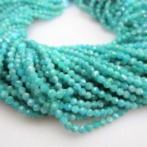 "Shop Amazonite Faceted Beads! Blue Amazonite Faceted Round Beads 2mm 3mm 5mm 6mm 15.5"" Strand 