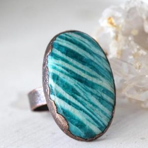 Shop Amazonite Rings! Amazonite Ring – Size 9 1 / 2 – Large Oval Cabochon – Bright Blue Stone – Natural Stone Ring | Natural genuine Amazonite rings, simple unique handcrafted gemstone rings. #rings #jewelry #shopping #gift #handmade #fashion #style #affiliate #ad
