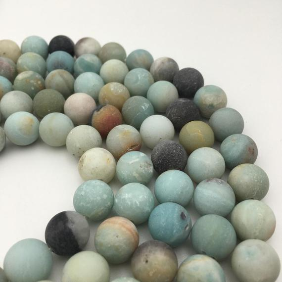 "2.0mm Hole Multi-color Amazonite Matte Round Beads 6mm 8mm 10mm 12mm 15.5"" Strand"