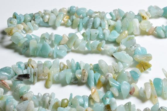 Full Strand(84cm) Natural Drilled Amazonite Of Gravel -freeform-appx.3mm To 5mm,5mm To 8mm