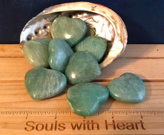 Amazonite Gemstone Hearts,healing Stone, Soothes Emotions, Energies Luck And Love, Healing Crystal, Chakra Stone, Spiritual Stone