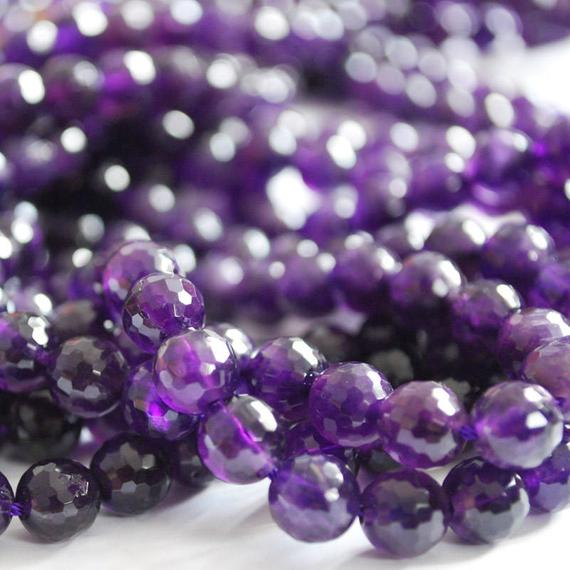 """High Quality Grade A Natural Amethyst Semi-precious Gemstone Faceted Round Beads - 6mm, 8mm, 10mm Sizes - Approx 15"""" Strand"""