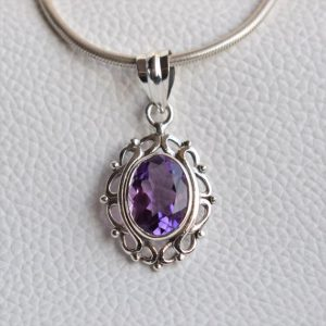 Shop Amethyst Pendants! Natural Amethyst Pendant-Handmade Silver Pendant-925 Sterling Silver Pendant-Designer Oval Amethyst Pendant-Gift for her-Anniversary Pendant | Natural genuine Amethyst pendants. Buy crystal jewelry, handmade handcrafted artisan jewelry for women.  Unique handmade gift ideas. #jewelry #beadedpendants #beadedjewelry #gift #shopping #handmadejewelry #fashion #style #product #pendants #affiliate #ad