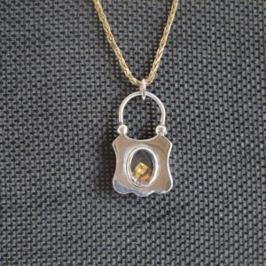Shop Yellow Sapphire Jewelry! Antique Victorian Silver With Yellow Princess Sapphires Love Padlock Pendant | Natural genuine Yellow Sapphire jewelry. Buy crystal jewelry, handmade handcrafted artisan jewelry for women.  Unique handmade gift ideas. #jewelry #beadedjewelry #beadedjewelry #gift #shopping #handmadejewelry #fashion #style #product #jewelry #affiliate #ad