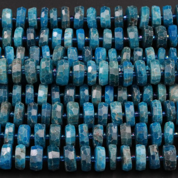 "Large Faceted Natural Blue Apatite 14mm X 6mm Chunky Faceted Rondelle Wheel Center Drilled Disc Coin Teal Blue Gemstone Beads 16"" Strand"
