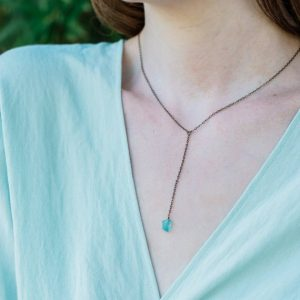 """Shop Apatite Necklaces! Rough Neon Aqua Blue Apatite Crystal Lariat Necklace In Gold, Silver, Bronze Or Rose Gold. Adjustable 16"""" Long With 2-inch Long Extender 