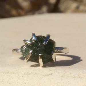 Shop Apatite Rings! Gemstone Silver Claw Ring, Raw Green Apatite Silver Prong Ring, Raw Stone Ring, Gift For Her | Natural genuine Apatite rings, simple unique handcrafted gemstone rings. #rings #jewelry #shopping #gift #handmade #fashion #style #affiliate #ad