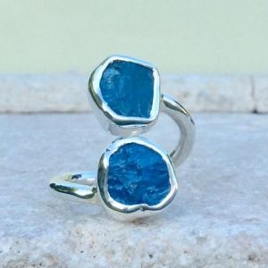 Shop Apatite Rings! Raw Gemstone Silver Ring, Double Blue Stone Adjustable Silver Stone Ring, Apatite Ring | Natural genuine Apatite rings, simple unique handcrafted gemstone rings. #rings #jewelry #shopping #gift #handmade #fashion #style #affiliate #ad