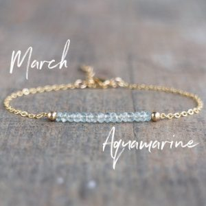 Shop Aquamarine Jewelry! March Birthstone Bracelet, Aquamarine Bracelet, Dainty Bracelet, Aquamarine Jewelry, Gemstone Bracelet, March Birthday Gift For Her | Natural genuine Aquamarine jewelry. Buy crystal jewelry, handmade handcrafted artisan jewelry for women.  Unique handmade gift ideas. #jewelry #beadedjewelry #beadedjewelry #gift #shopping #handmadejewelry #fashion #style #product #jewelry #affiliate #ad