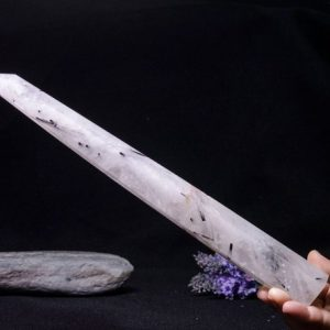 Shop Black Tourmaline Points & Wands! Rare Natural Extra Large Black Rutilated Quartz Tower/Black Tourmaline Point/Rutilated Crystal Collection/Crystal Gift-36*40*310mm-538g#1799 | Natural genuine stones & crystals in various shapes & sizes. Buy raw cut, tumbled, or polished gemstones for making jewelry or crystal healing energy vibration raising reiki stones. #crystals #gemstones #crystalhealing #crystalsandgemstones #energyhealing #affiliate #ad