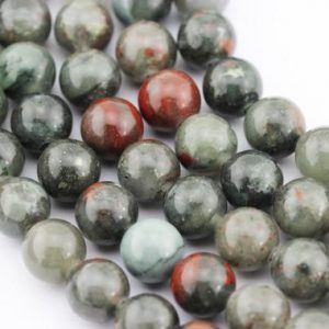 Shop Bloodstone Beads! 2.0mm Large Hole Smooth Africa Bloodstone Gemstone Round Loose Beads Size 8mm / 10mm Approximate 15.5 Inches Per Strand.r-s-l-jas-0239 | Natural genuine round Bloodstone beads for beading and jewelry making.  #jewelry #beads #beadedjewelry #diyjewelry #jewelrymaking #beadstore #beading #affiliate #ad