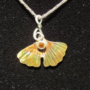 Brass and Sterling Silver Brutalist Ginkgo and Yellow Sapphire Pendant | Natural genuine Yellow Sapphire jewelry. Buy crystal jewelry, handmade handcrafted artisan jewelry for women.  Unique handmade gift ideas. #jewelry #beadedjewelry #beadedjewelry #gift #shopping #handmadejewelry #fashion #style #product #jewelry #affiliate #ad