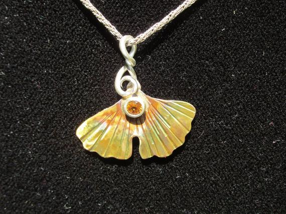 Brass And Sterling Silver Brutalist Ginkgo And Yellow Sapphire Pendant