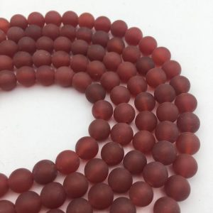 "Shop Carnelian Round Beads! Dark Carnelian Matte Round Beads 6mm 8mm 10mm 15.5"" Strand 