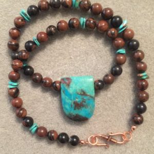 Shop Mahogany Obsidian Pendants! Chrysocola pendant with mahogany obsidian beads | Natural genuine Mahogany Obsidian pendants. Buy crystal jewelry, handmade handcrafted artisan jewelry for women.  Unique handmade gift ideas. #jewelry #beadedpendants #beadedjewelry #gift #shopping #handmadejewelry #fashion #style #product #pendants #affiliate #ad