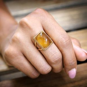 Shop Citrine Rings! Citrine statement ring,gold ring,rectangle ring,Citrine ring,cocktail ring,gemstone ring,November birthstone ring | Natural genuine Citrine rings, simple unique handcrafted gemstone rings. #rings #jewelry #shopping #gift #handmade #fashion #style #affiliate #ad