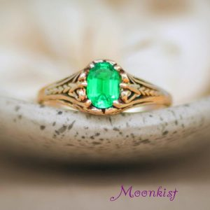 Gold Filigree Engagement Ring – 14 K Oval Wedding Ring – Emerald Gemstone Proposal Ring – May Birthstone Ring – Alternative Engagement Ring | Natural genuine Array rings, simple unique alternative gemstone engagement rings. #rings #jewelry #bridal #wedding #jewelryaccessories #engagementrings #weddingideas #affiliate #ad