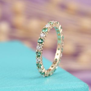 Emerald wedding band Women, Diamond/Moissanite Eternity ring, Micro Pave Dainty Stacking Matching Jewelry, Anniversary Promise  for her | Natural genuine Gemstone rings, simple unique alternative gemstone engagement rings. #rings #jewelry #bridal #wedding #jewelryaccessories #engagementrings #weddingideas #affiliate #ad