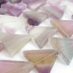 Shop Fluorite Bead Shapes! 20mm Fluorite Triangle Beads, 20mm Rainbow Fluorite Beads, 15 Inch Strand, Natural Gemstone Beads, Purple Beads, Fluo206 | Natural genuine other-shape Fluorite beads for beading and jewelry making.  #jewelry #beads #beadedjewelry #diyjewelry #jewelrymaking #beadstore #beading #affiliate #ad