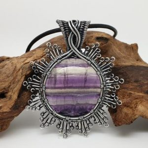 Shop Fluorite Jewelry! Rainbow Fluorite Pendant, Gemstone Jewellery, Filigree Pendant, Wire wrapped Jewellery, Purple Stone Necklace | Natural genuine Fluorite jewelry. Buy crystal jewelry, handmade handcrafted artisan jewelry for women.  Unique handmade gift ideas. #jewelry #beadedjewelry #beadedjewelry #gift #shopping #handmadejewelry #fashion #style #product #jewelry #affiliate #ad
