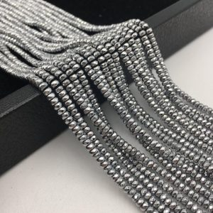 "Shop Hematite Faceted Beads! Silver Plated Hematite Faceted Smooth Rondelle Beads 2x3mm 3x4mm 15.5"" Strand 
