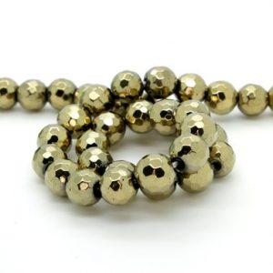 Shop Hematite Faceted Beads! Hematite Faceted Round Ball Sphere Loose Heishi Gemstone Beads – Bronze (8mm, 10mm, 12mm) | Natural genuine faceted Hematite beads for beading and jewelry making.  #jewelry #beads #beadedjewelry #diyjewelry #jewelrymaking #beadstore #beading #affiliate #ad