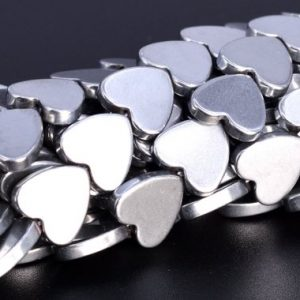 "Shop Hematite Bead Shapes! 10MM Silver Hematite Beads Heart Grade AAA Natural Gemstone Full Strand Loose Beads 16"" BULK LOT 1,3,5,10 and 50 (104862-1316) 