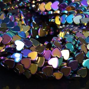 "Shop Hematite Bead Shapes! 9MM Rainbow Hematite Beads Heart Grade AAA Natural Gemstone Half Strand Loose Beads 8"" BULK LOT 1,3,5,10 and 50 (104564h-1239) 
