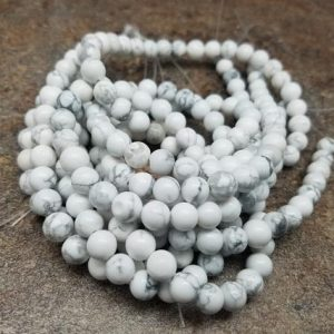 Shop Howlite Round Beads! 4 Or 6 Or 8mm Howlite Smooth Round Beads, 15 Inch | Natural genuine round Howlite beads for beading and jewelry making.  #jewelry #beads #beadedjewelry #diyjewelry #jewelrymaking #beadstore #beading #affiliate #ad