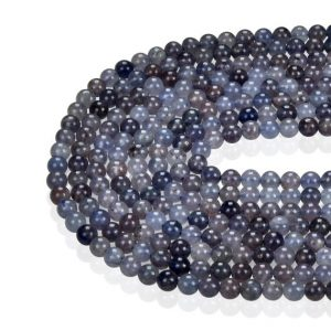 "Natural Iolite Smooth Round Beads 4mm 6mm 8mm 10mm 15.5"" Strand 