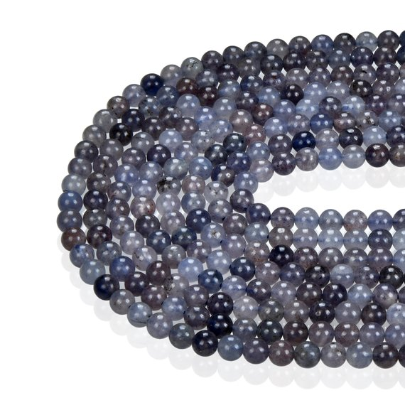 Natural Iolite Smooth Round Gemstone Loose Beads. Size 4mm / 6mm / 8mm / 10mm 15.5 Inches Long Per Strand.gem-0730049-18
