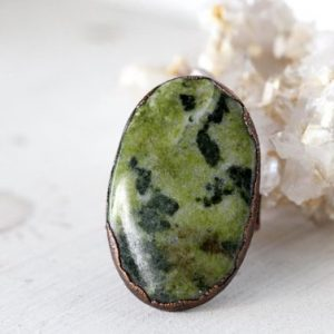 Shop Jade Rings! Jade Ring – Size 8 3/4 – Large Stone Ring – Canadian Jade Ring –  Big Copper Ring   Natural genuine Jade rings, simple unique handcrafted gemstone rings. #rings #jewelry #shopping #gift #handmade #fashion #style #affiliate #ad