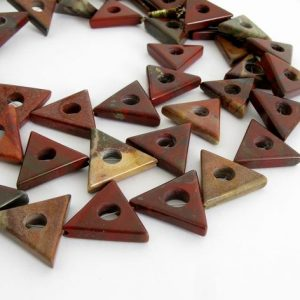 Shop Jasper Bead Shapes! Brecciated Jasper Beads, Triangle Beads, Full Strand Poppy Jasper Beads, Brick Red Beads With A Center Hole, Unique Focal Beads, Jas200 | Natural genuine other-shape Jasper beads for beading and jewelry making.  #jewelry #beads #beadedjewelry #diyjewelry #jewelrymaking #beadstore #beading #affiliate #ad